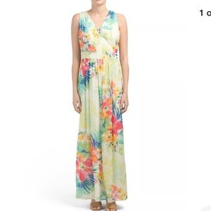 ANNE KLEIN Ivory tropical floral maxi dress